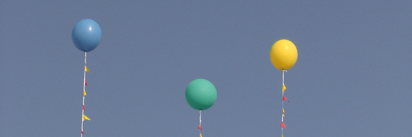 Three helium balloons
