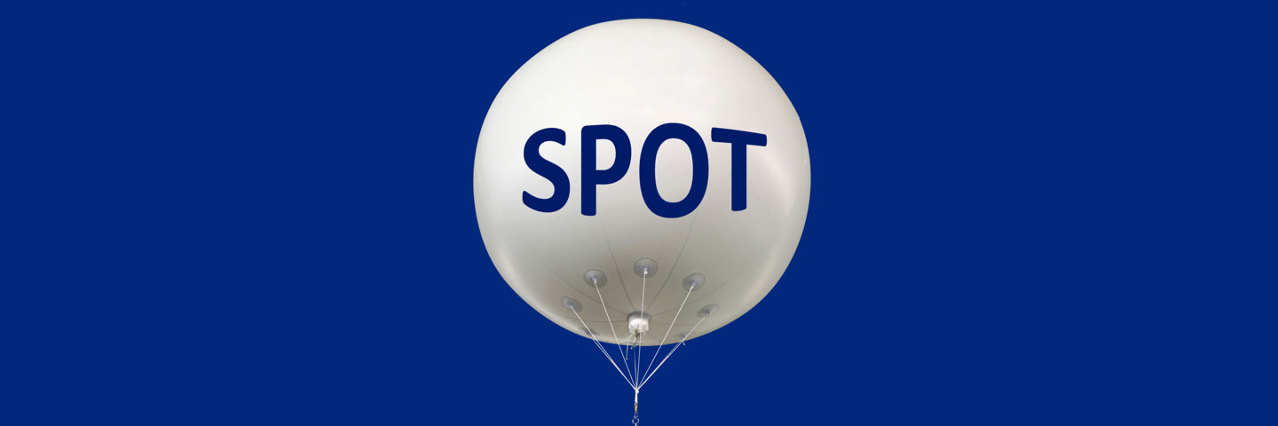 White Helium Balloon with Text: Spot