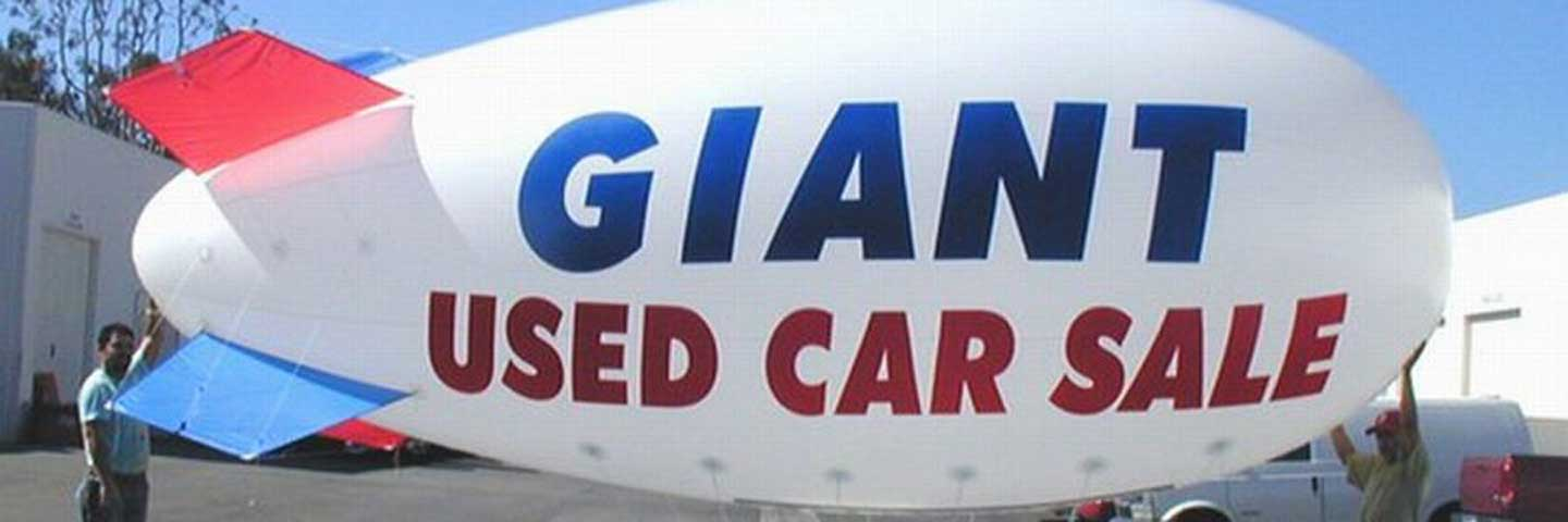 Blimp used in car dealer promotion