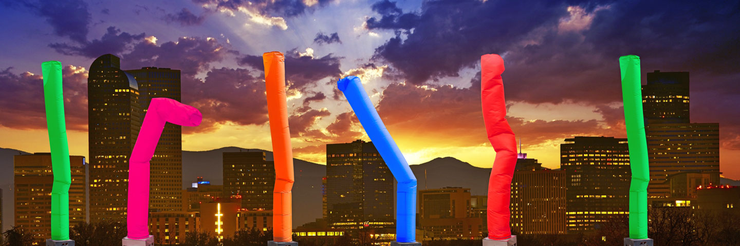 Five Inflatable Tubes at Sunset