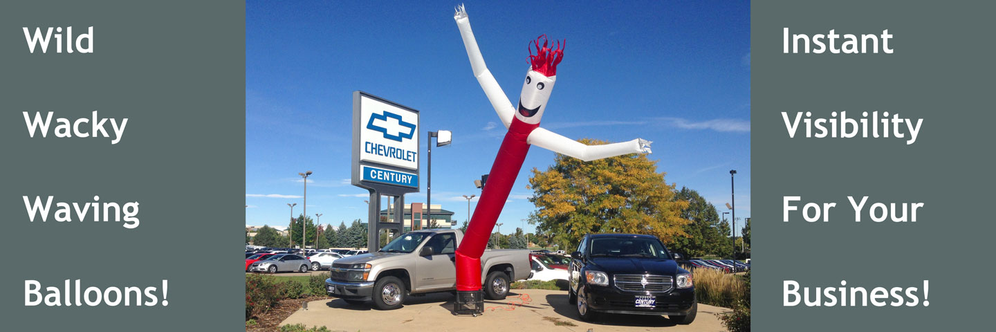 Waving Man Balloon in front of Auto Dealer