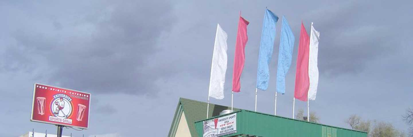 Multiple Flags As Outdoor Advertising