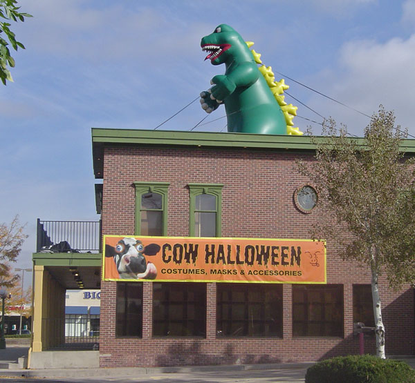 Inflated Green Dinosaur