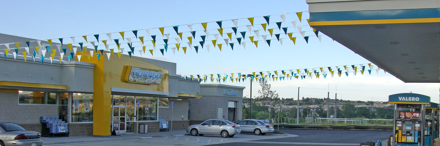 Brightly Colored Gas Station Promotional Pennants